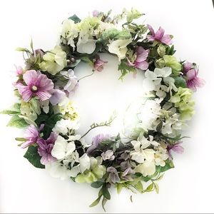 "22"" spring wreath.  Lavender, yellow, chartreuse,"